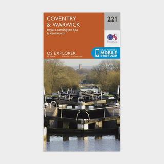 Explorer 221 Coventry, Warwick, Royal Leamington Spa & Kenilworth Map With Digital Version