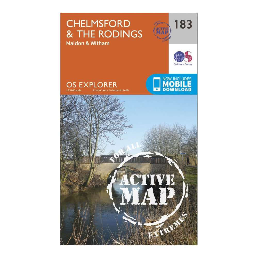 ORDNANCE SURVEY Explorer Active 183 Chelmsford & The Rodings Map With Digital Version