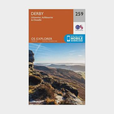 Orange Ordnance Survey Explorer 259 Derby, Uttoxeter, Ashbourne & Cheadle Map With Digital Version