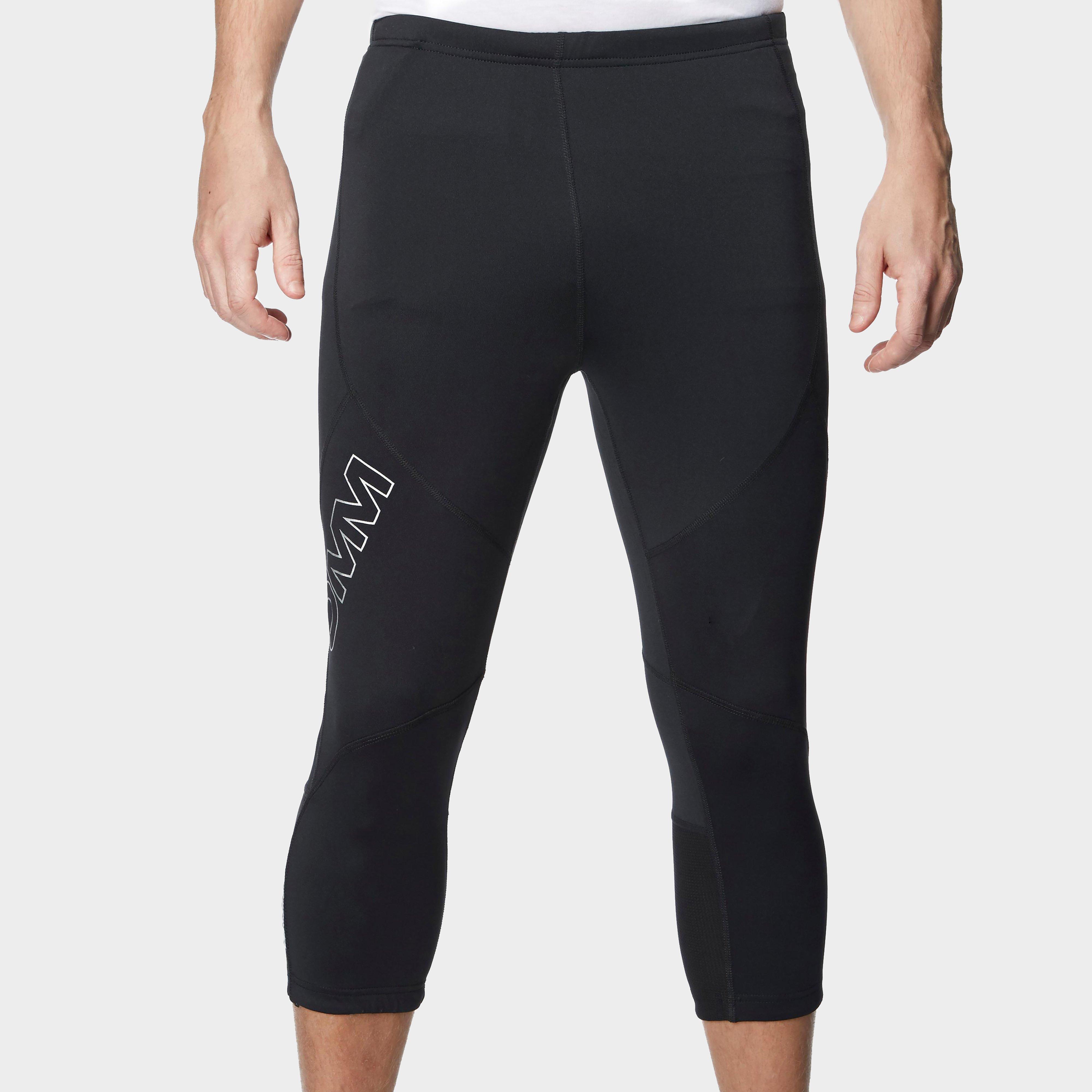 Omm Omm Mens Flash 0.75 Knee Length Running Leggings - Black, Black