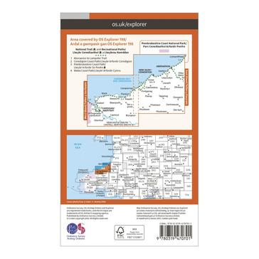 Orange Ordnance Survey Explorer Active 198 Cardigan & New Quay Map With Digital Version