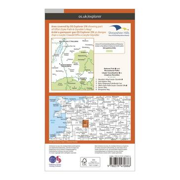 Orange Ordnance Survey Explorer Active 216 Welshpool & Montgomery Map With Digital Version