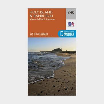Orange Ordnance Survey Explorer 340 Holy Island & Bamburgh Map With Digital