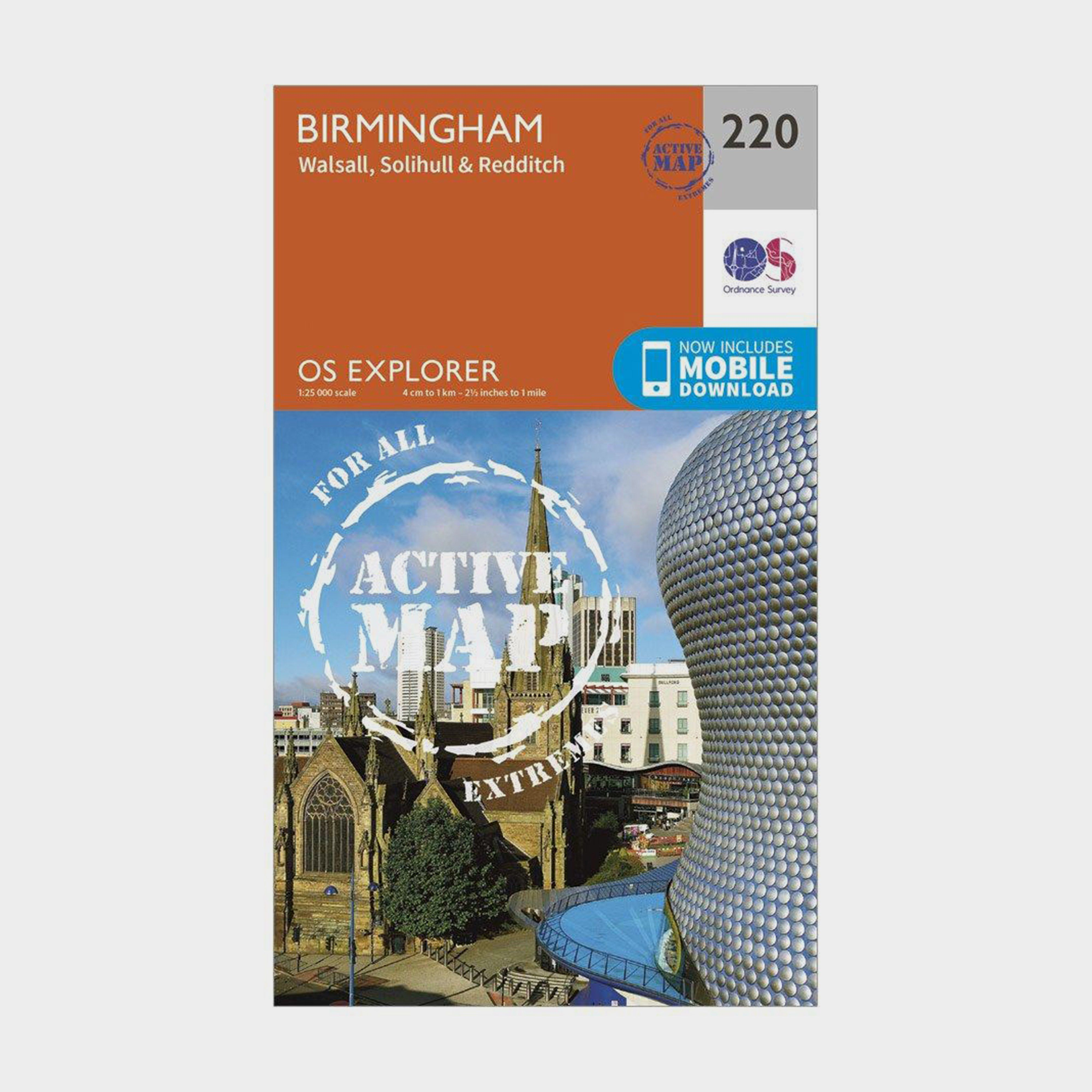ORDNANCE SURVEY Explorer Active 220 Birmingham, Walsall, Solihull & Redditch Map With Digital Version