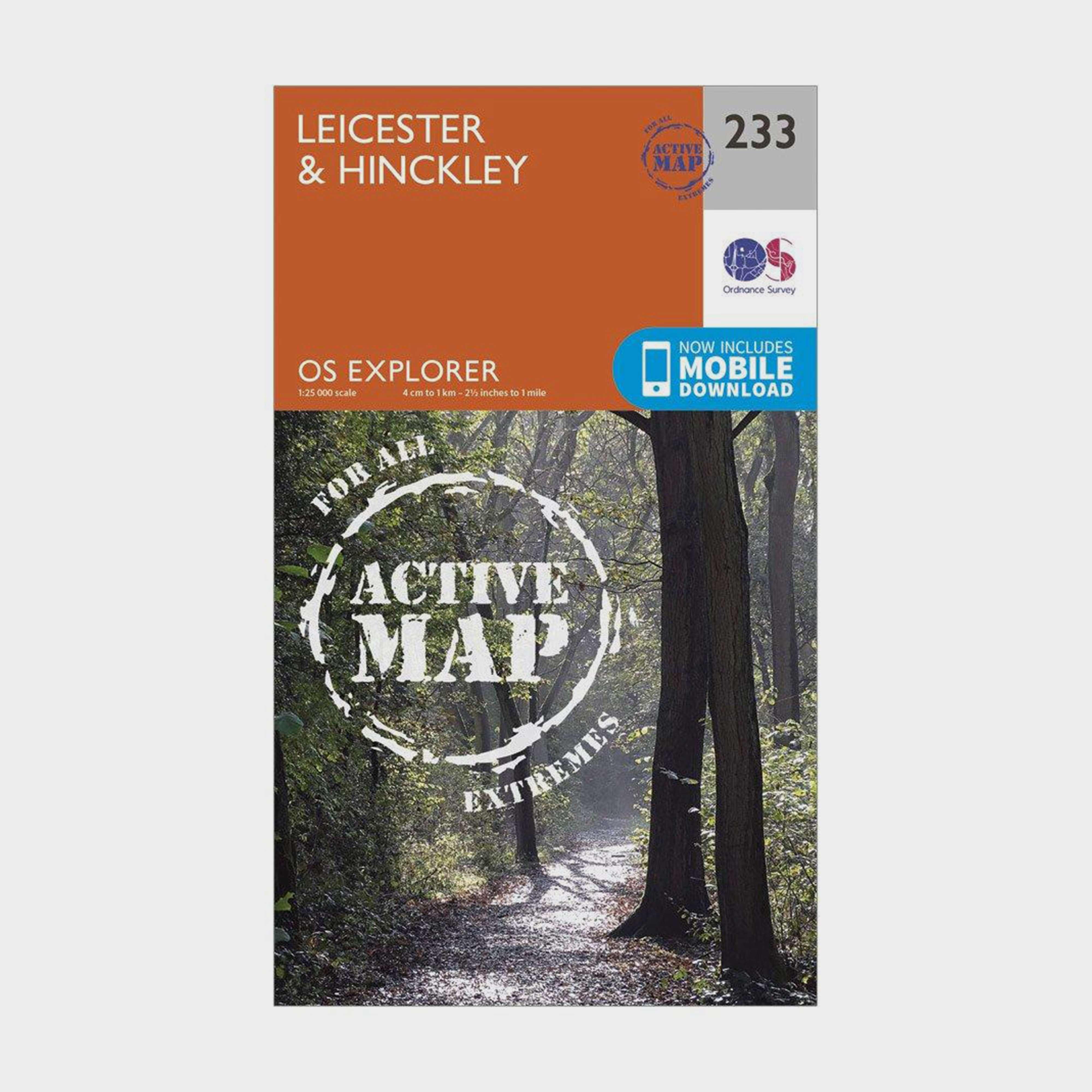 ORDNANCE SURVEY Explorer Active 233 Leicester & Hinckley Map With Digital Version