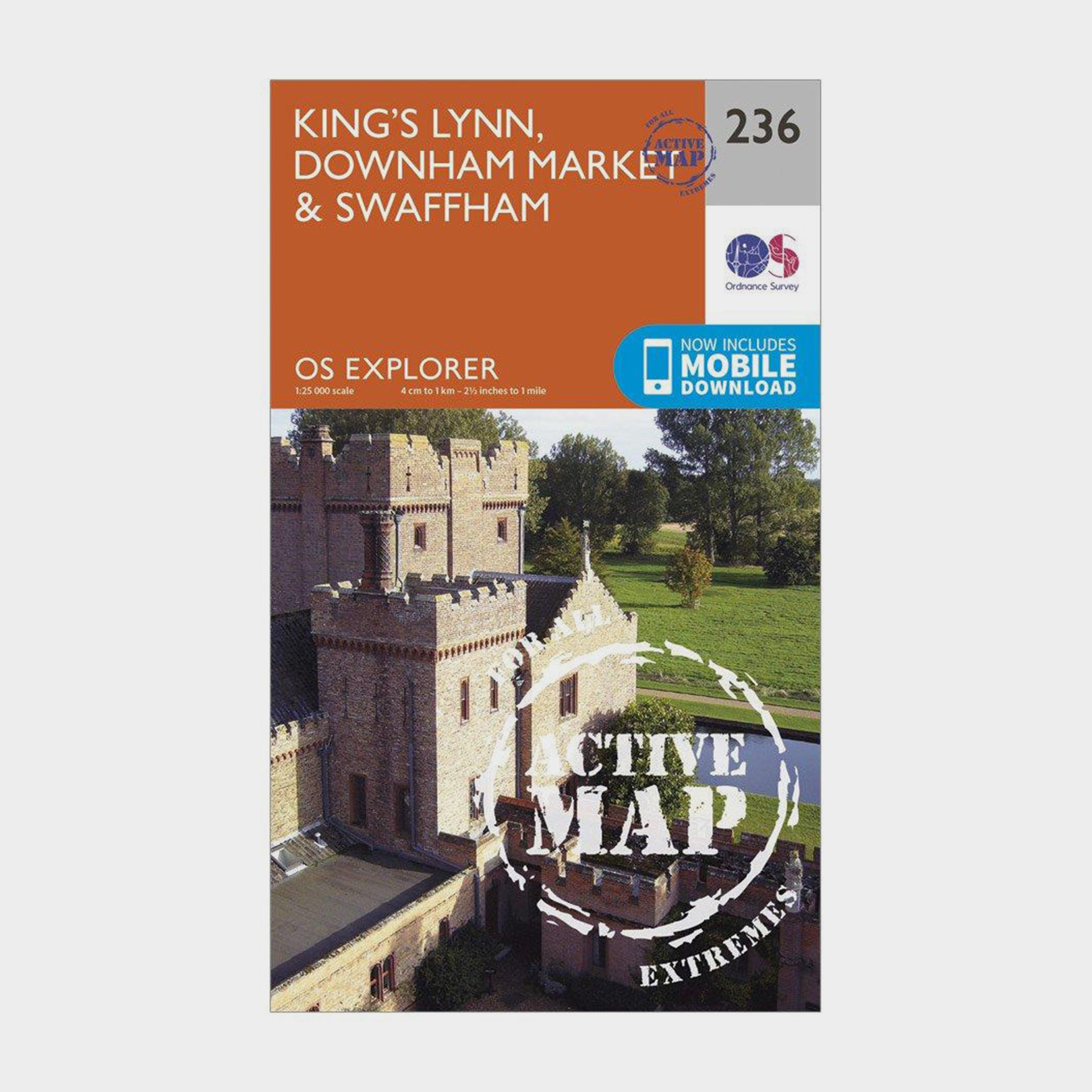 Image of Ordnance Survey Explorer Active 236 King's Lynn, Downham Market & Swaffham Map With Digital Version - Orange/D, Orange/D