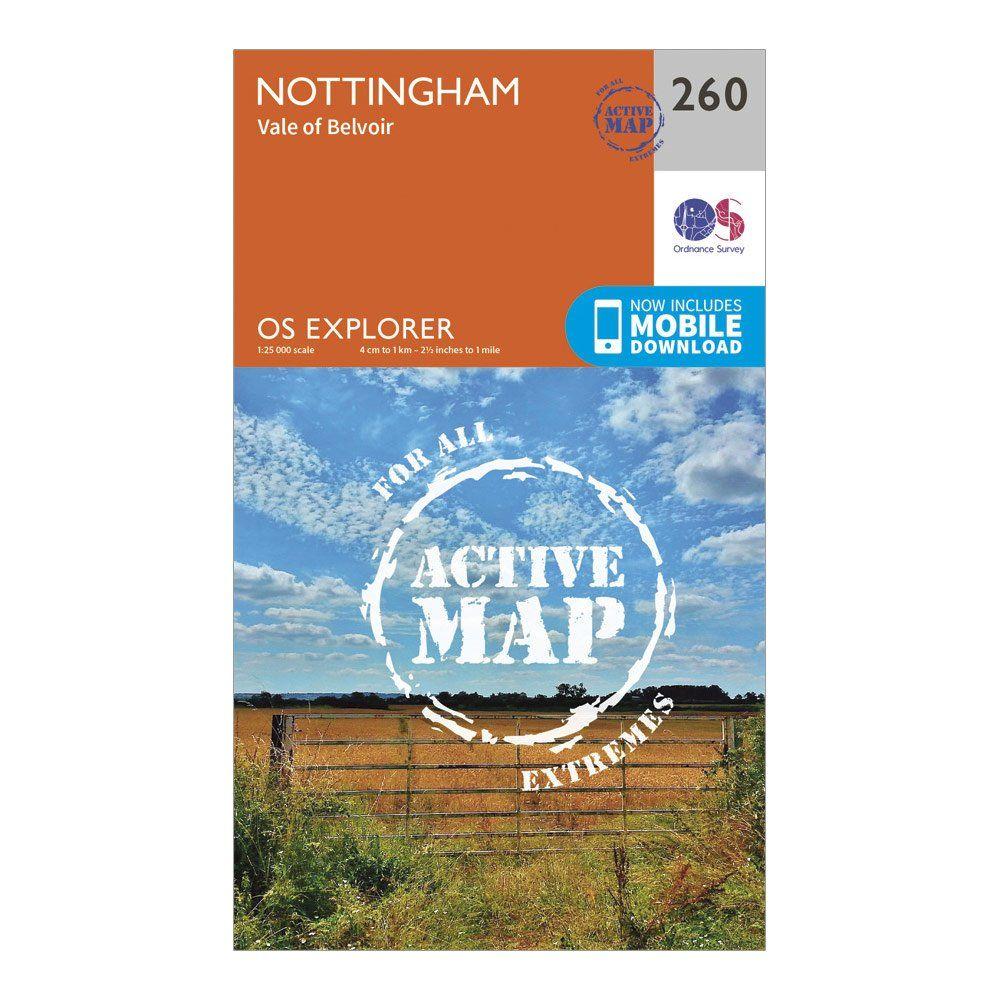 ORDNANCE SURVEY Explorer Active 260 Nottingham Map With Digital Version