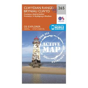 ORDNANCE SURVEY Explorer Active 265 Clwydian Range, Prestatyn, Mold & Ruthin Map With Digital Version