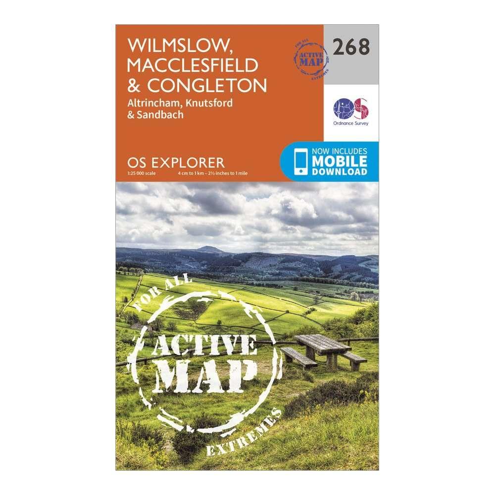 ORDNANCE SURVEY Explorer Active 268 Wilmslow, Macclesfield & Congleton Map With Digital Version
