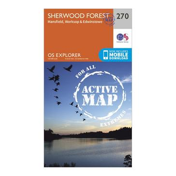 Orange Ordnance Survey Explorer Active 270 Sherwood Forest Map With Digital Version