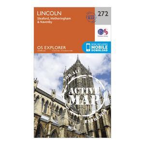 ORDNANCE SURVEY Explorer Active 272 Lincoln Map With Digital Version
