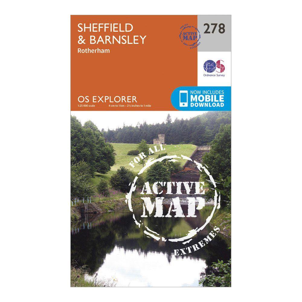 ORDNANCE SURVEY Explorer Active 278 Sheffield & Barnsley Map With Digital Version