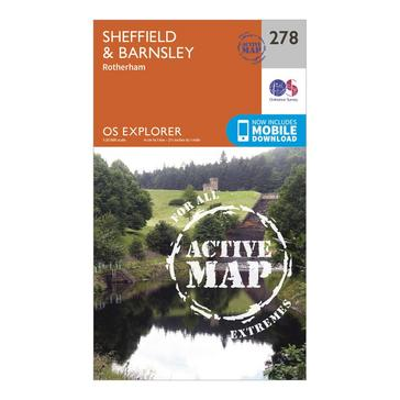 Orange Ordnance Survey Explorer Active 278 Sheffield & Barnsley Map With Digital Version