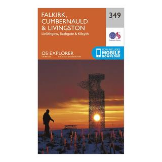 Explorer 349 Falkirk, Cumbernauld & Livingston Map With Digital Version