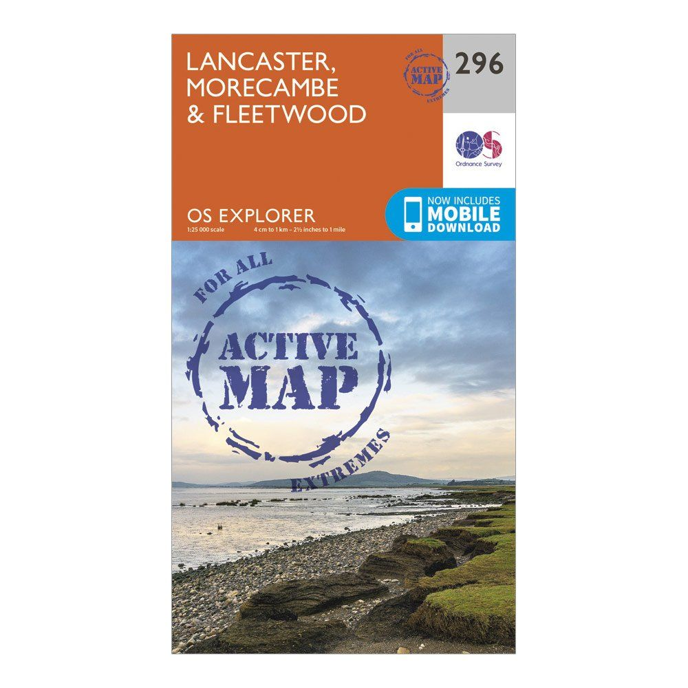 ORDNANCE SURVEY Explorer Active 296 Lancaster, Morecambe & Fleetwood Map With Digital Version