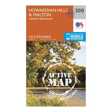 Orange Ordnance Survey Explorer Active 300 Howardian Hills & Malton Map With Digital Version
