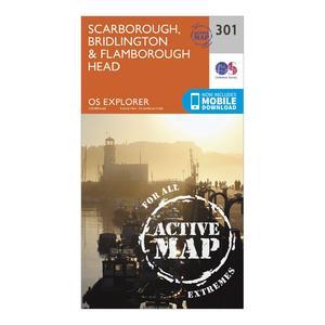 ORDNANCE SURVEY Explorer Active 301 Scarborough, Bridlington & Flamborough Head Map With Digital Version