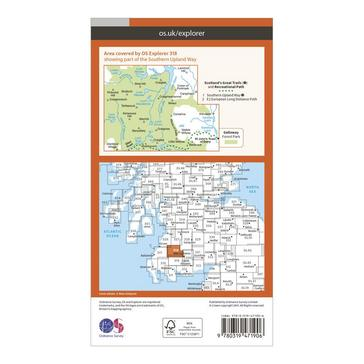 Orange Ordnance Survey Explorer Active 318 Galloway Forest Park North Map With Digital Version
