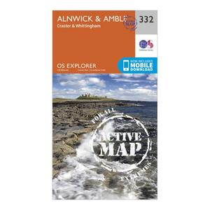 ORDNANCE SURVEY Explorer Active 332 Alnwick & Amble Map With Digital Version