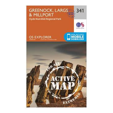Orange Ordnance Survey Explorer Active 341 Greenoch, Largs & Millport Map With Digital Version