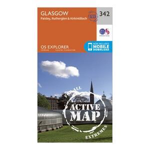 ORDNANCE SURVEY Explorer Active 342 Glasgow Map With Digital Version