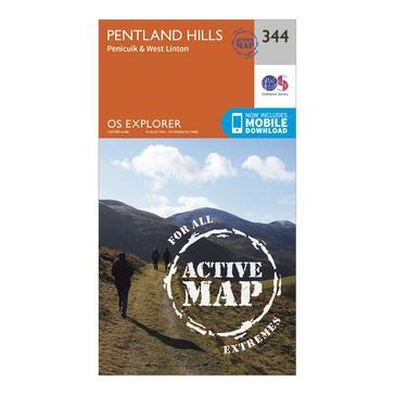 Orange Ordnance Survey Explorer Active 344 Pentland Hills Map With Digital Version