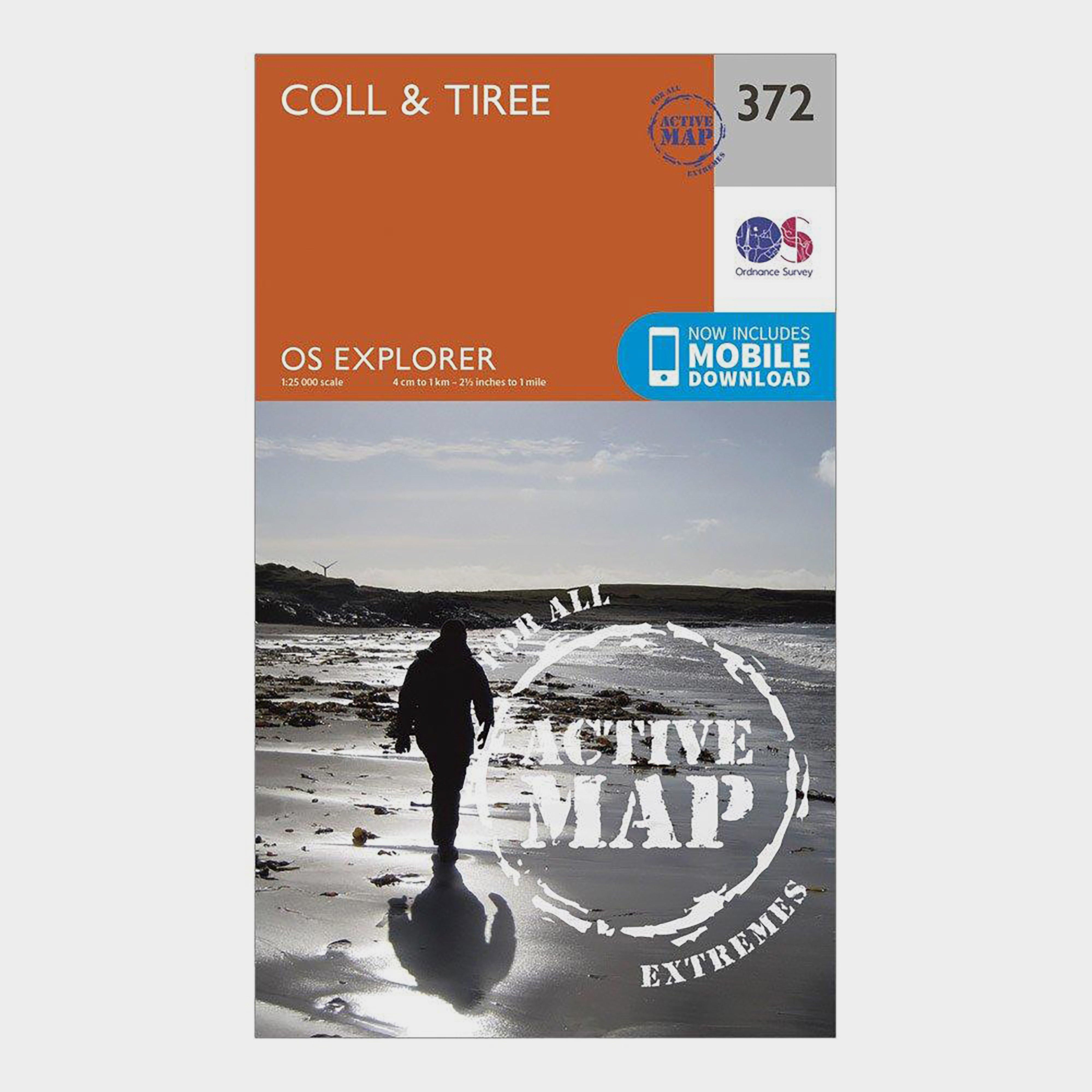 Ordnance Survey Ordnance Survey Explorer Active 372 Coll & Tiree Map With Digital Version - Orange, Orange