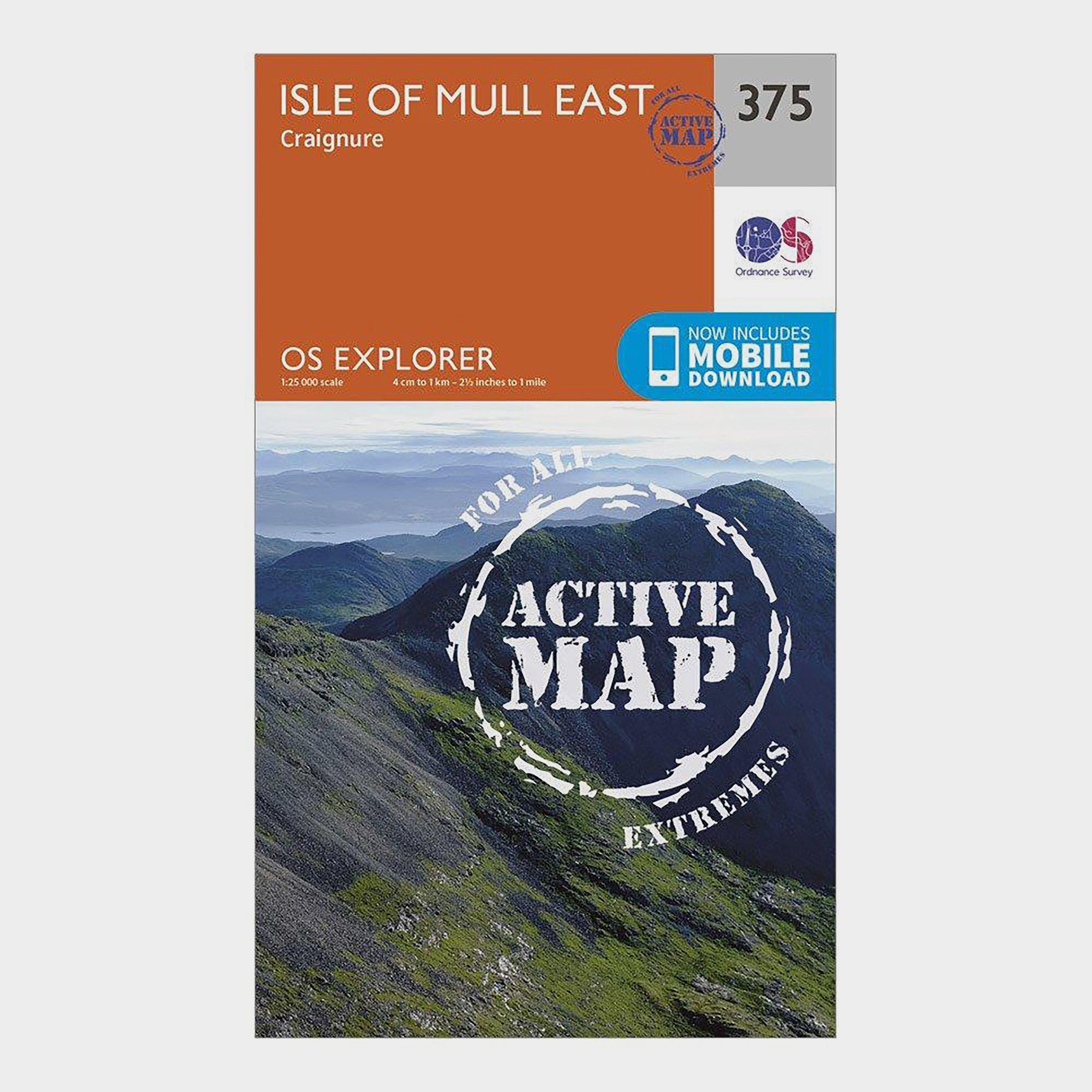 Ordnance Survey Ordnance Survey Explorer Active 375 Isle of Mull East Map With Digital Version - Orange, Orange