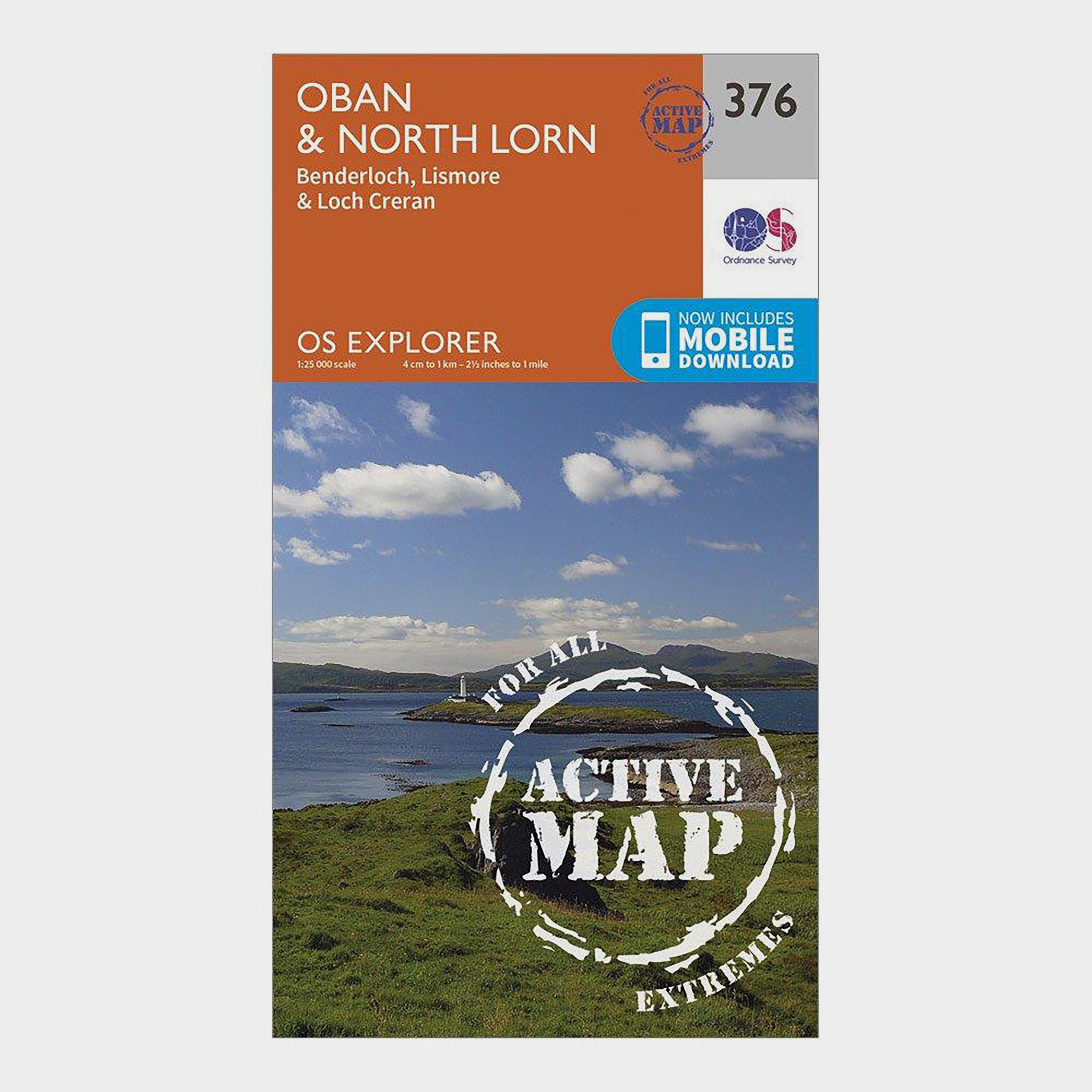 Ordnance Survey Ordnance Survey Explorer Active 376 Oban & North Lorn Map With Digital Version - Orange, Orange