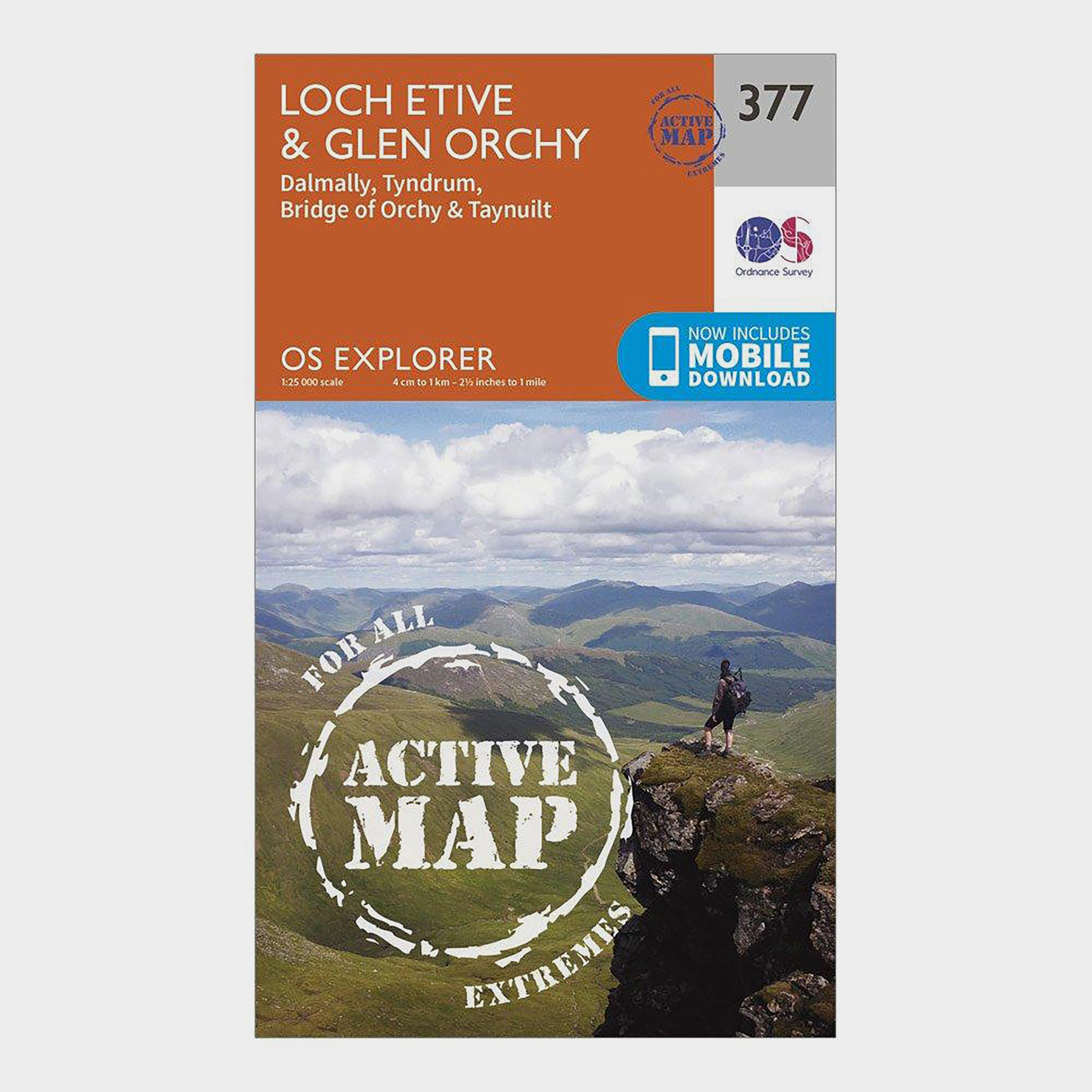 Ordnance Survey Ordnance Survey Explorer Active 377 Loch Etive & Glen Orchy Map With Digital Version - Orange, Orange