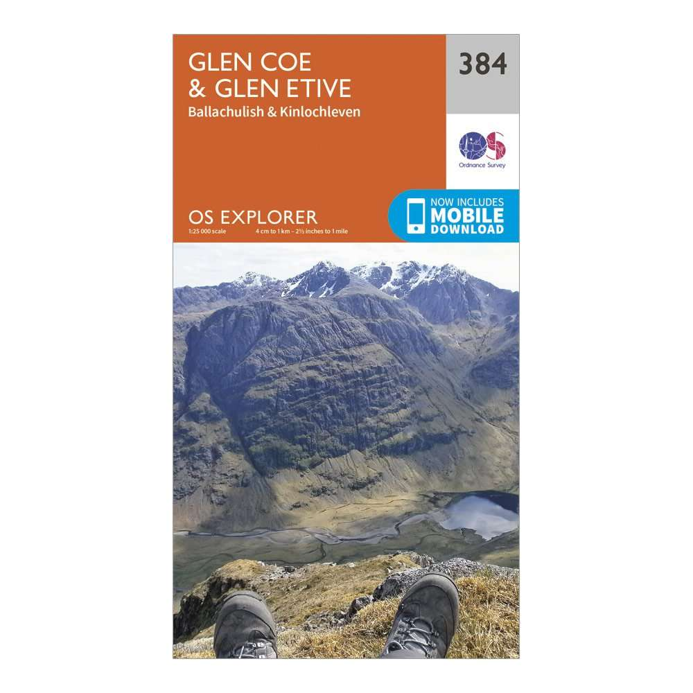 ORDNANCE SURVEY Explorer 384 Glen Coe & Glen Etive Map With Digital Version