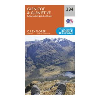 Explorer 384 Glen Coe & Glen Etive Map With Digital Version