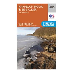 ORDNANCE SURVEY Explorer 385 Rannoch Moor & Ben Alder Map With Digital Version