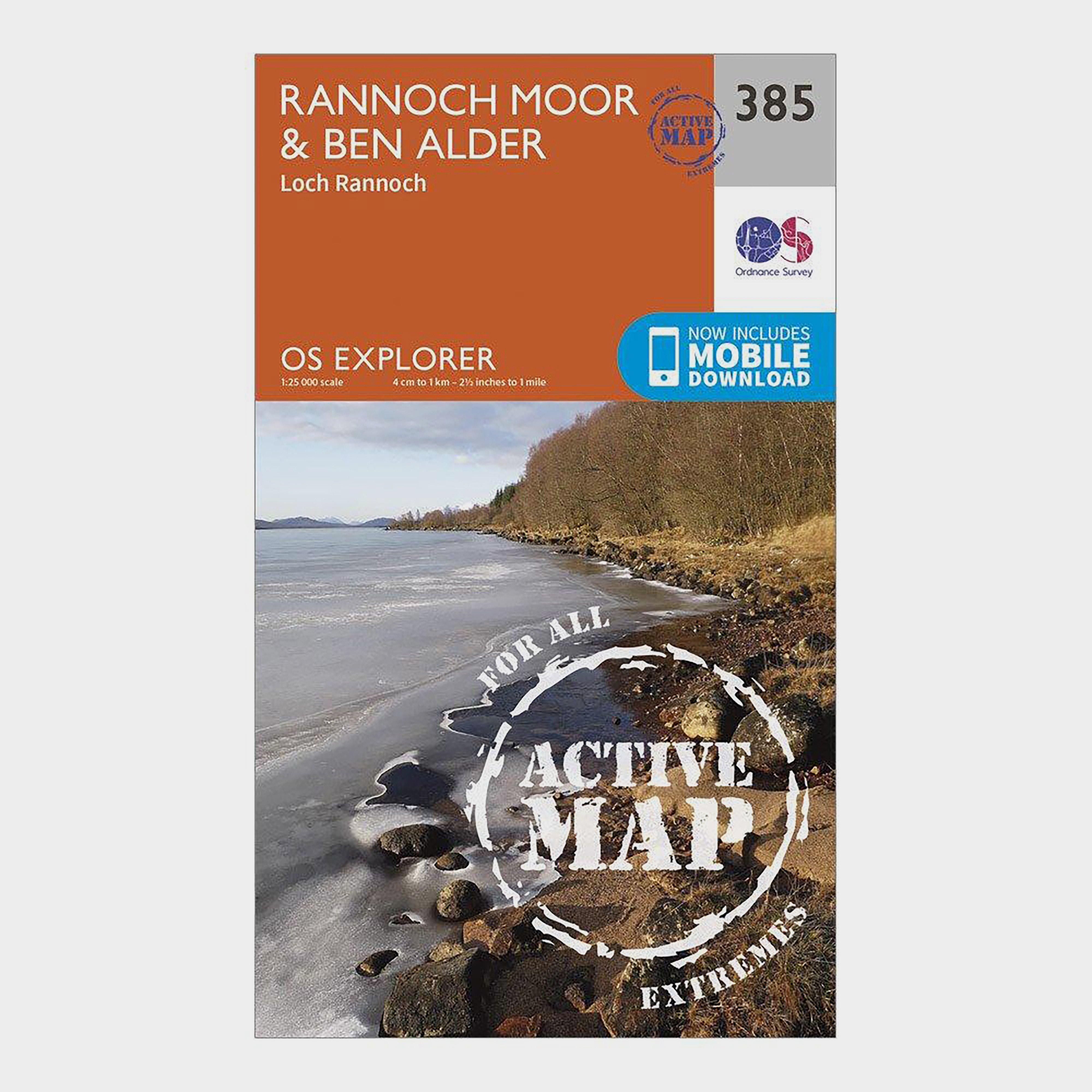 Ordnance Survey Ordnance Survey Explorer Active 385 Rannoch Moor & Ben Alder Map With Digital Version - Orange, Orange