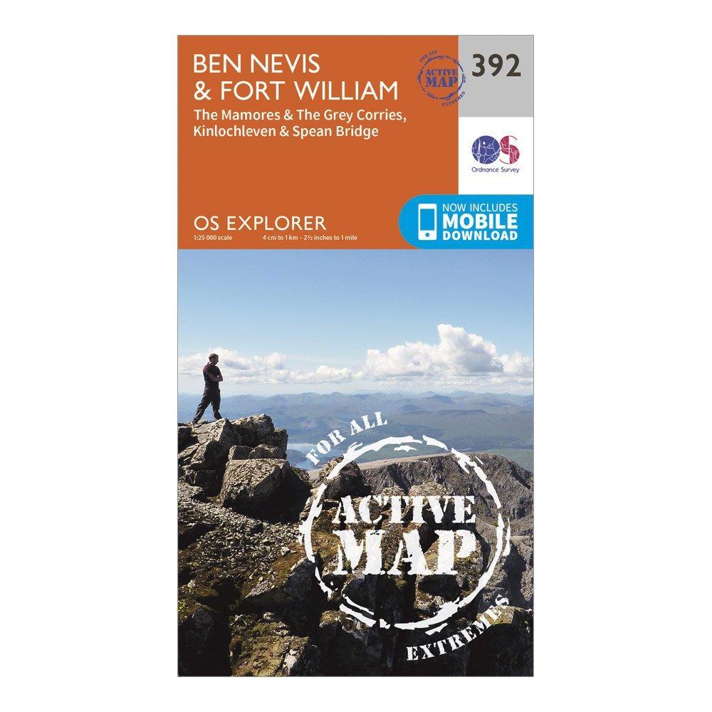 Ordnance Survey Ordnance Survey Explorer Active 392 Ben Nevis Map With Digital Version - Orange, Orange