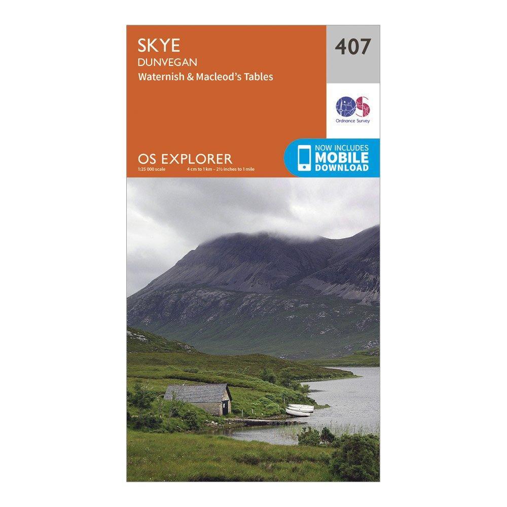 Image of Ordnance Survey Explorer 407 Skye - Dunvegan Map With Digital Version - Orange/D, Orange/D