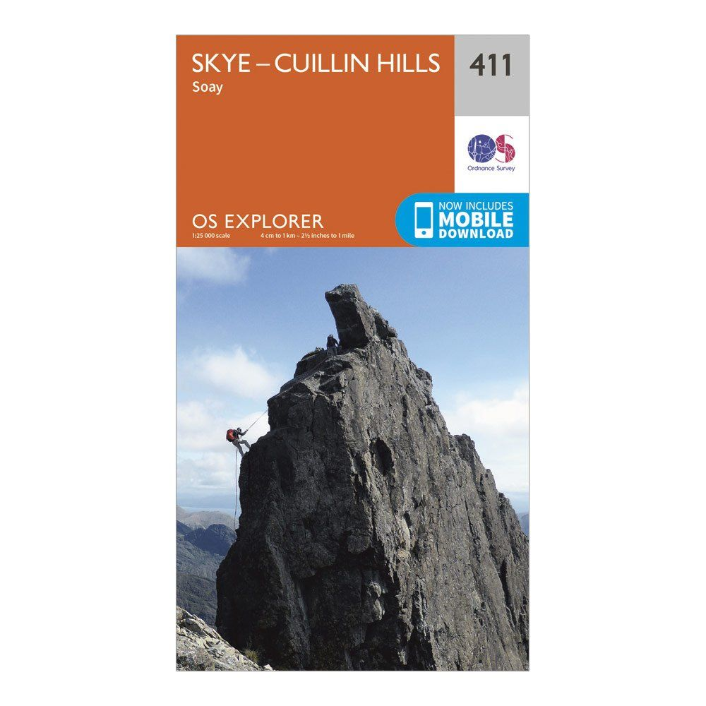 ORDNANCE SURVEY Explorer 411 Skye - Cuillin Hills Map With Digital Version
