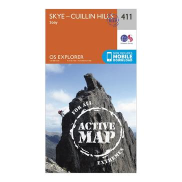 Orange Ordnance Survey Explorer Active 411 Skye – Cuillin Hills Map With Digital Version