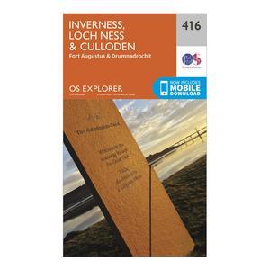 ORDNANCE SURVEY Explorer 416 Inverness, Loch Ness & Culloden Map With Digital Version
