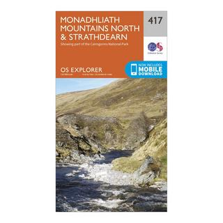 Explorer 417 Monadhliath Mountains North & Strathdearn Map With Digital Version