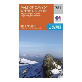 Explorer 264 Vale of Clwyd, Rhyl, Denbigh & Ruthin Map With Digital Version