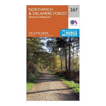 Orange Ordnance Survey Explorer 267 Northwich & Delamere Forest Map With Digital Version