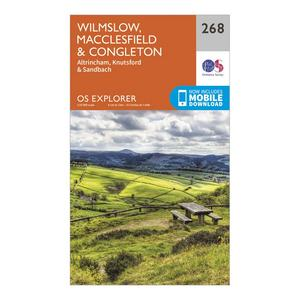 ORDNANCE SURVEY Explorer 268 Wilmslow, Macclesfield & Congleton Map With Digital Version