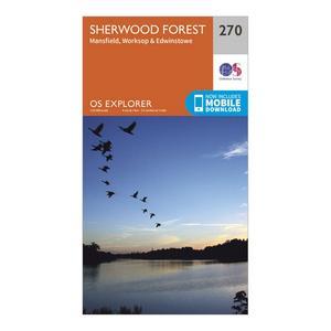 ORDNANCE SURVEY Explorer 270 Sherwood Forest Map With Digital Version