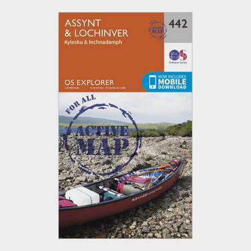 Orange Ordnance Survey Explorer Active 442 Assynt & Lochinver Map with Digital Version