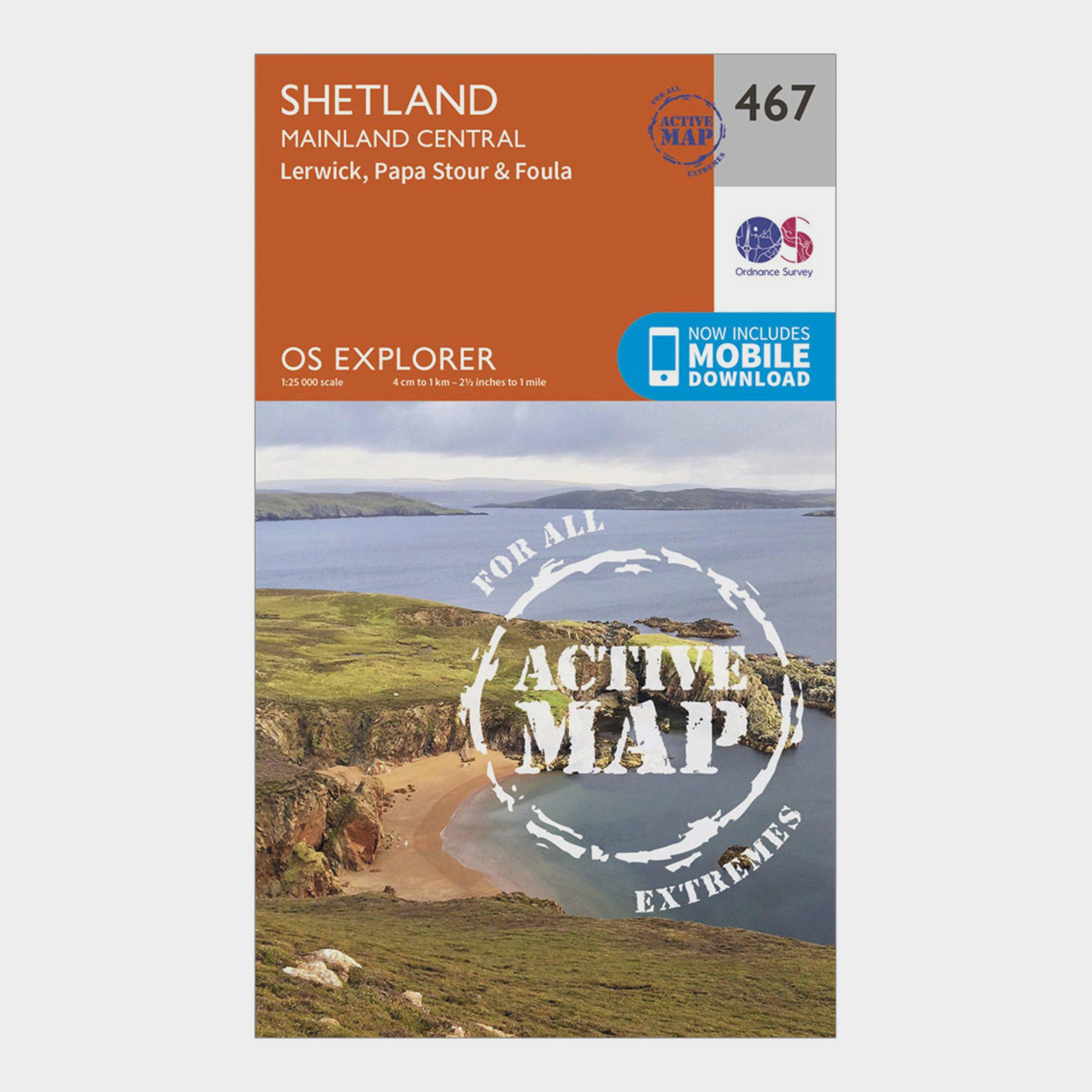 Image of Ordnance Survey Explorer Active 467 Shetland - Mainland Central Map With Digital Version - D/D, D/D