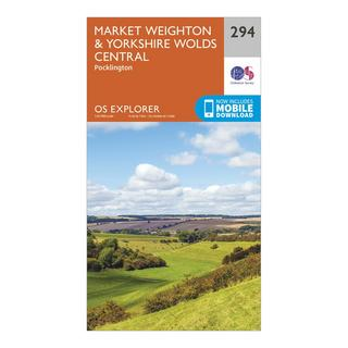 Explorer 294 Market Weighton & Yorkshire Wolds Central Map With Digital Version