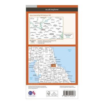 Orange Ordnance Survey Explorer 305 Bishop Auckland Map With Digital Version