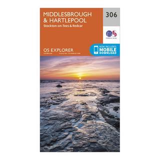 Explorer 306 Middlesbrough & Hartlepool Map With Digital Version