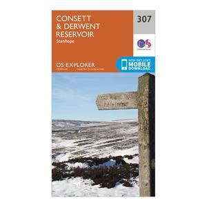 ORDNANCE SURVEY Explorer 307 Consett & Derwent Reservoir Map With Digital Version